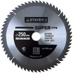 Диск пильный STAYER MASTER SUPER-Line 3682-250-30-60 по дереву, 250х30мм, 60Т