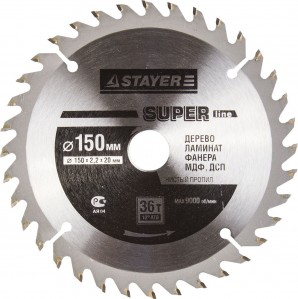 Диск пильный STAYER MASTER SUPER-Line 3682-140-20-36 по дереву, 140x20мм, 36T