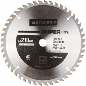 Диск пильный STAYER MASTER SUPER-Line 3682-210-30-48 по дереву, 210х30мм, 48Т