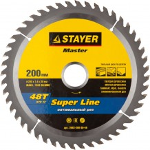 Диск пильный STAYER MASTER SUPER-Line 3682-200-30-48 по дереву, 200х30мм, 48Т